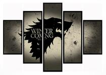 Quadro Mosaico 5 Partes Game Of Thrones House Stark Moldura Preta Art e Cia