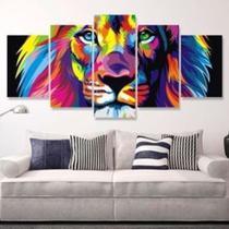 Quadro Mosaico 5 Partes Leão de Judá Colorido - 150x95cm - Decore Mosaicos