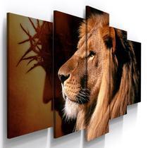 Quadro Mosaico 5 Partes Leão Jesus com Coroa de Espinhos - Católico Sou