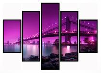 Quadro Mosaico 5 Partes Manhattan Ponte Do Brooklyn Moldura Preta Art e Cia