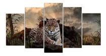 Quadro Mosaico 5 Partes Onça Pintada Decoração 115cmx60cm - Mr Decorações / Paradecoração