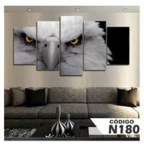 Quadro mosaico 5 peças aguia abstrato falcão moderno painel para decoração de ambientes - Neyrad