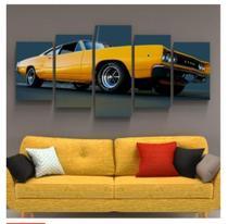 Quadro mosaico 5 peças carro amarelo abstrato moderno automotivo painel para decoração de ambiente - Neyrad