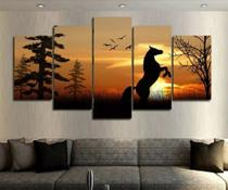 Quadro Mosaico 5 Peças Cavalo Por Do Sol Ultra Hd - Paradecoração