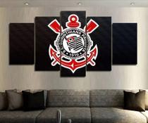 Quadro Mosaico 5 Peças Corinthians Timão Logo Hd - Mr Decorações / Paradecoração