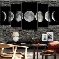 Quadro mosaico 5 peças fases da lua abstrato moderno painel para decoração de ambientes - Neyrad