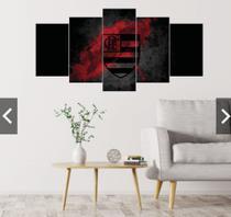 Quadro mosaico 5 peças flamengo mengão abstrato moderno painel para decoração de ambientes - Neyrad
