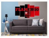 Quadro mosaico 5 peças flamengo preto e vermelho abstrato moderno mengão painel - Neyrad