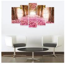 Quadro mosaico 5 peças floresta rosa abstrato moderno painel para decoração de ambientes - Neyrad