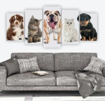 Quadro Mosaico 5 Peças Gatos E Cachorros/animais - Mr Decorações / Paradecoração