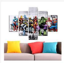 Quadro mosaico 5 peças herois DC Marvel abstrato moderno painel para decoração de ambientes - Neyrad