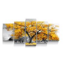 Quadro mosaico 5 peças ipê amarelo abstrato moderno painel para decoração de ambientes - Neyrad