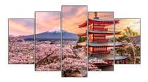 Quadro Mosaico 5 Peças Japão Oriental Monte Fuji Hd - Neyrad