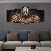 Quadro Mosaico 5 peças Kratos god of war 2 Deus Da Guerra 129x64 - Khameodecor