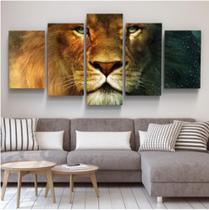Quadro mosaico 5 peças leão colorido abstrato moderno painel para decoração de ambientes - Neyrad