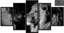 Quadro mosaico 5 peças leão de judá preto e branco 2 abstrato moderno painel - Neyrad
