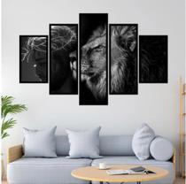 Quadro mosaico 5 peças leão de judá preto e branco 3 abstrato moderno - Neyrad