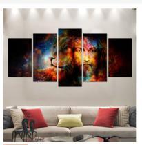 Quadro mosaico 5 peças leão e jesus cristo colorido abstrato moderno - Neyrad