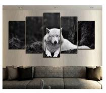 Quadro mosaico 5 peças lobo branco abstrato moderno painel para decoração de ambientes - Neyrad