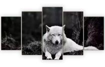 Quadro Mosaico 5 Peças Lobo Branco Hd Preto E Branco - Neyrad