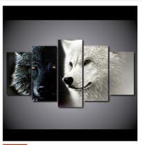 Quadro mosaico 5 peças lobos preto e branco abstrato moderno painel para decoração de ambiente - Neyrad