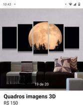 Quadro mosaico 5 peças lua abstrato moderno painel para decoração de ambientes - Neyrad