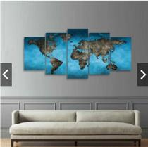 Quadro mosaico 5 peças mapa mundi abstrato moderno painel para decoração de ambientes - Neyrad