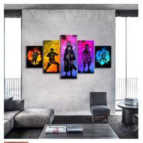 Quadro mosaico 5 peças naruto personagens 2 abstrato moderno painel para decoração de ambientes - Neyrad