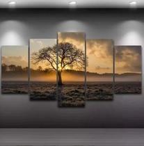 Quadro Mosaico 5 Peças Nascer Do Sol Arvore Hd Ultra - Premium Art Decoracoes