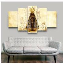 Quadro mosaico 5 peças Nossa Senhora abstrato moderno painel para decoração de ambiente - Neyrad