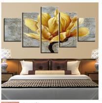Quadro mosaico 5 peças orquidea dourada 2 abstrato moderno painel para decoração de ambientes - Neyrad