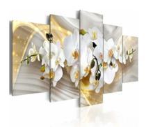 Quadro mosaico 5 peças orquidea dourada abstrato moderno painel para decoração de ambientes - Neyrad