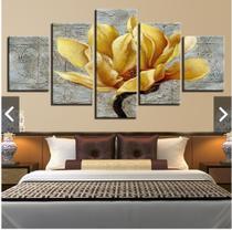 Quadro mosaico 5 peças orquidea ouro abstrato moderno painel para decoração de ambientes - Neyrad