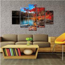 Quadro mosaico 5 peças paisagem lago abstrato moderno painel para decoração de ambientes - Neyrad