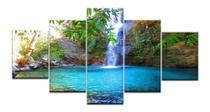 Quadro Mosaico 5 Peças Para Sala Paisagens Cachoeiras Linda - Neyrad