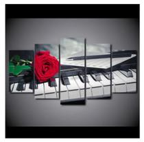 Quadro mosaico 5 peças piano abstrato moderno painel para decoração de ambiente - Neyrad