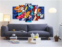 Quadro mosaico 5 peças romero brito 2 abstrato moderno painel para decoração de ambientes - Neyrad
