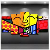 Quadro mosaico 5 peças romero brito abstrato moderno painel para decoração de ambientes - Neyrad