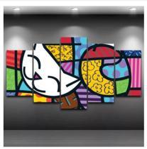 Quadro mosaico 5 peças romero brito gato abstrato moderno painel para decoração de ambientes - Neyrad