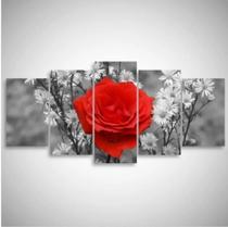 Quadro mosaico 5 peças rosa vermelha abstrato moderno painel para decoração de ambientes - Neyrad