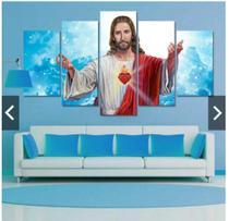 Quadro mosaico 5 peças sagrado coração de jesus abstrato moderno painel para decoração de ambientes - Neyrad