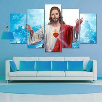 Quadro Mosaico 5 Peças Sagrado Coraçao De Jesus Cristo Ceu - Neyrad
