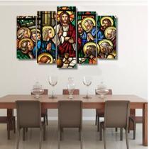 Quadro mosaico 5 peças santa ceia 2 abstrato moderno painel para decoração de ambientes - Neyrad