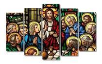 Quadro Mosaico 5 Peças Santa Ceia Vitraux Mdf - Paradecoração