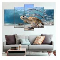Quadro mosaico 5 peças tartaruga abstrato moderno painel para decoração de ambientes - Neyrad