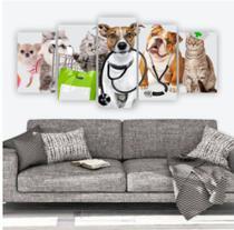 Quadro mosaico 5 peças veterinaria abstrato moderno painel para decoração de ambientes - Neyrad