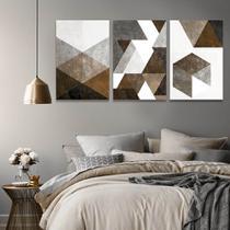 Quadro Mosaico Abstratos 120x60 Tons de marrom Parede Sala - Iquadros