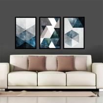 Quadro Mosaico Abstratos Azul E Neutro Lindos Quarto Sala - Neyrad