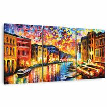 Quadro Mosaico Canal De Veneza Artístico Paisagem Em Tecido - Framez