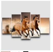 Quadro mosaico cavalo correndo 5 peças abstrato moderno painel para decoração de ambientes - Neyrad